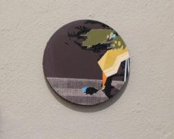 Bez názvu, akryl a fixa na plátne, priemer 30cm, 2016, 200e-2