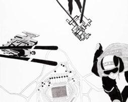 Corejova_Keď-myšlienky-skutkami-sa-stanú_seria-MIND-GAMES_2011_tus-na-papieri_50x65cm__350E