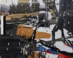 Dávidova prvá rana,2015,120x100cm, akryl, spray, prestrelene platno