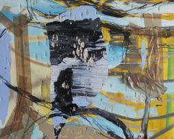 Proces, 2015, 120x100cm, akryl, uhlík, spray, páska, strelba do plátna