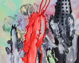 Rita Koszorús, Červený sukulent, 2016, 200x200cm, olej, akryl, spray, uhlík na plátne