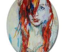 Dievča s melírom, 150x120 cm, olej na plátne,2016