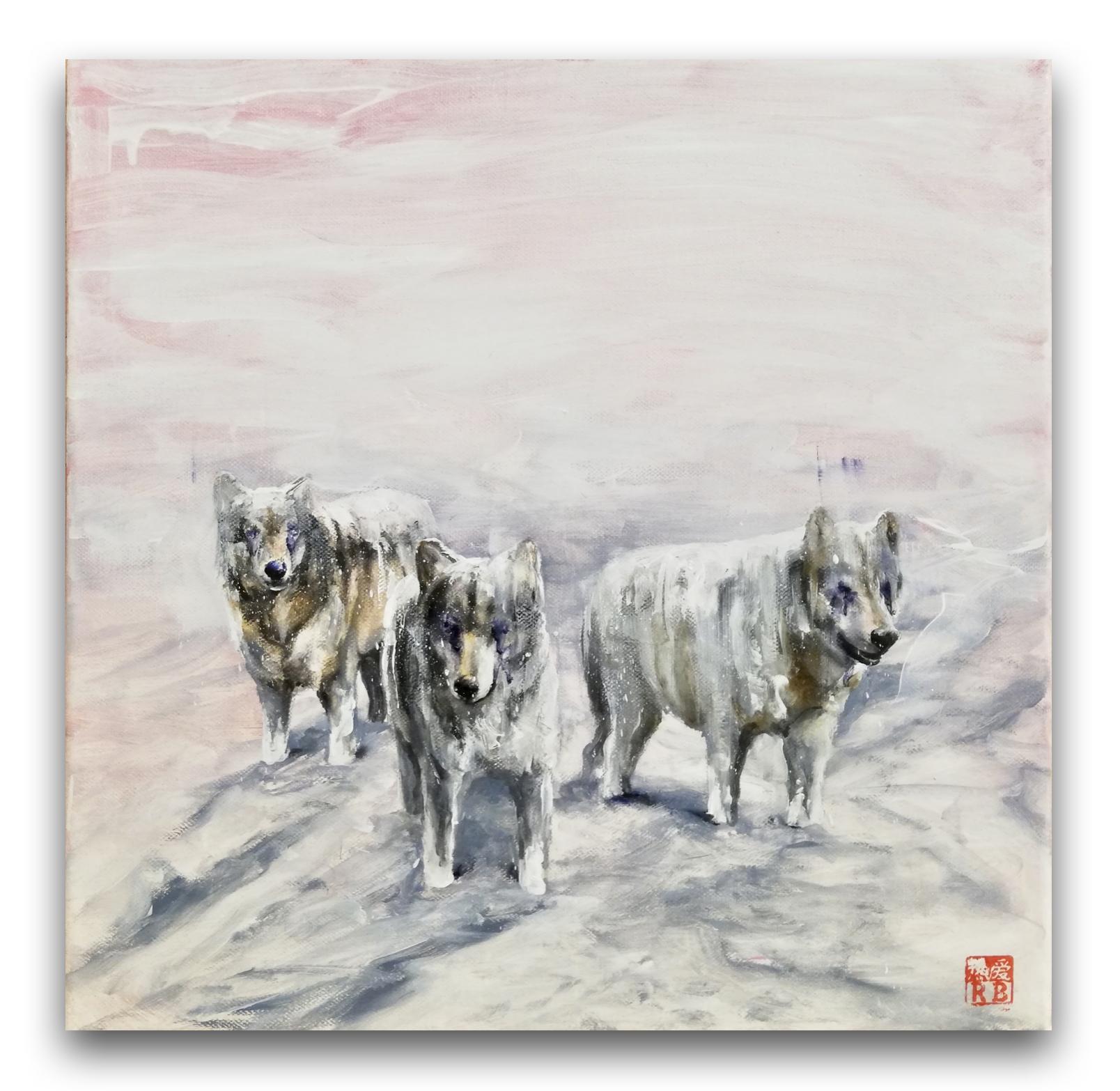 Zasnežení vlci, 40x40 cm, olej na plátne