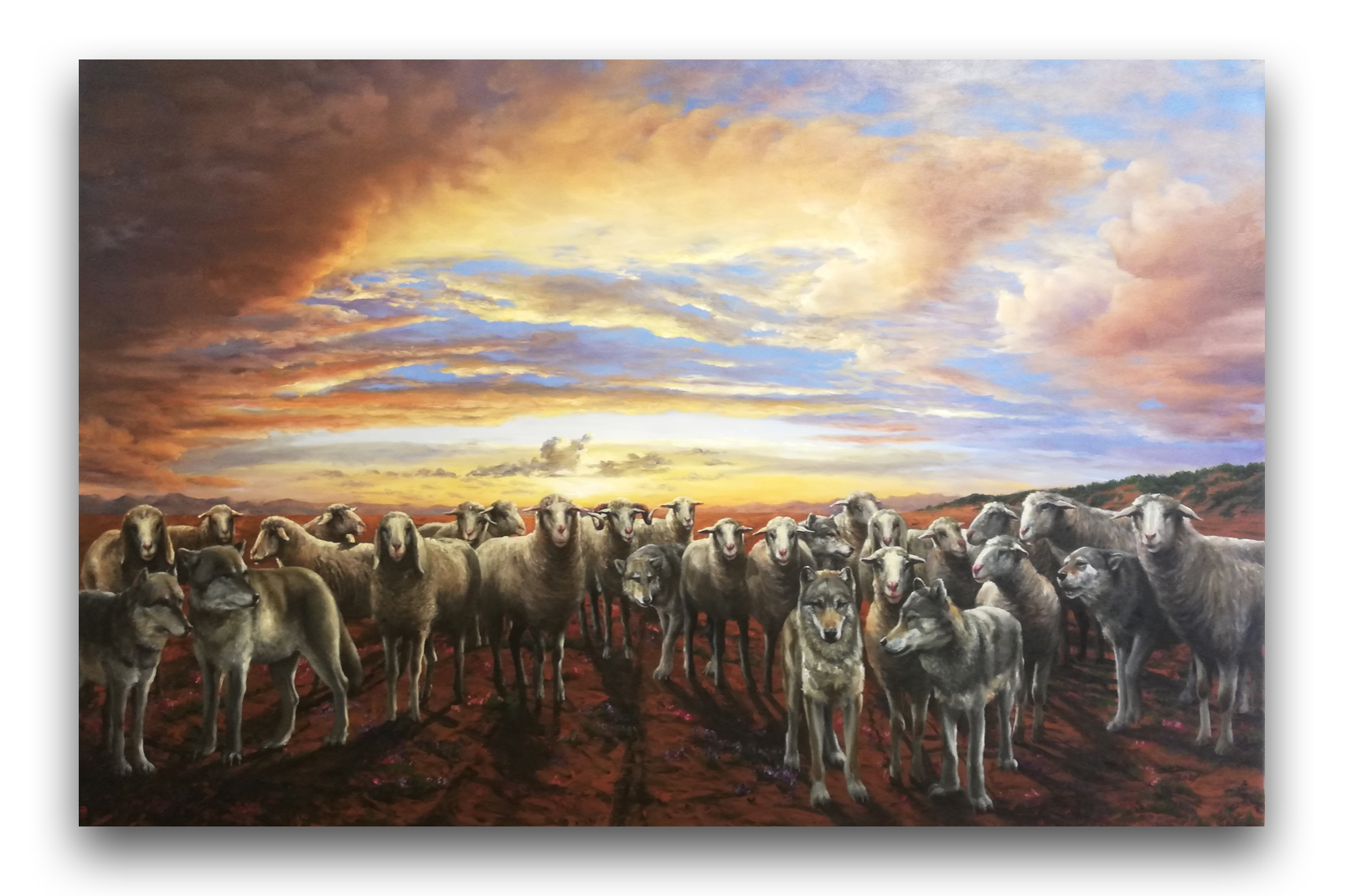 Ticho (Ovce a vlci), 130x200 cm, olej na plátne,