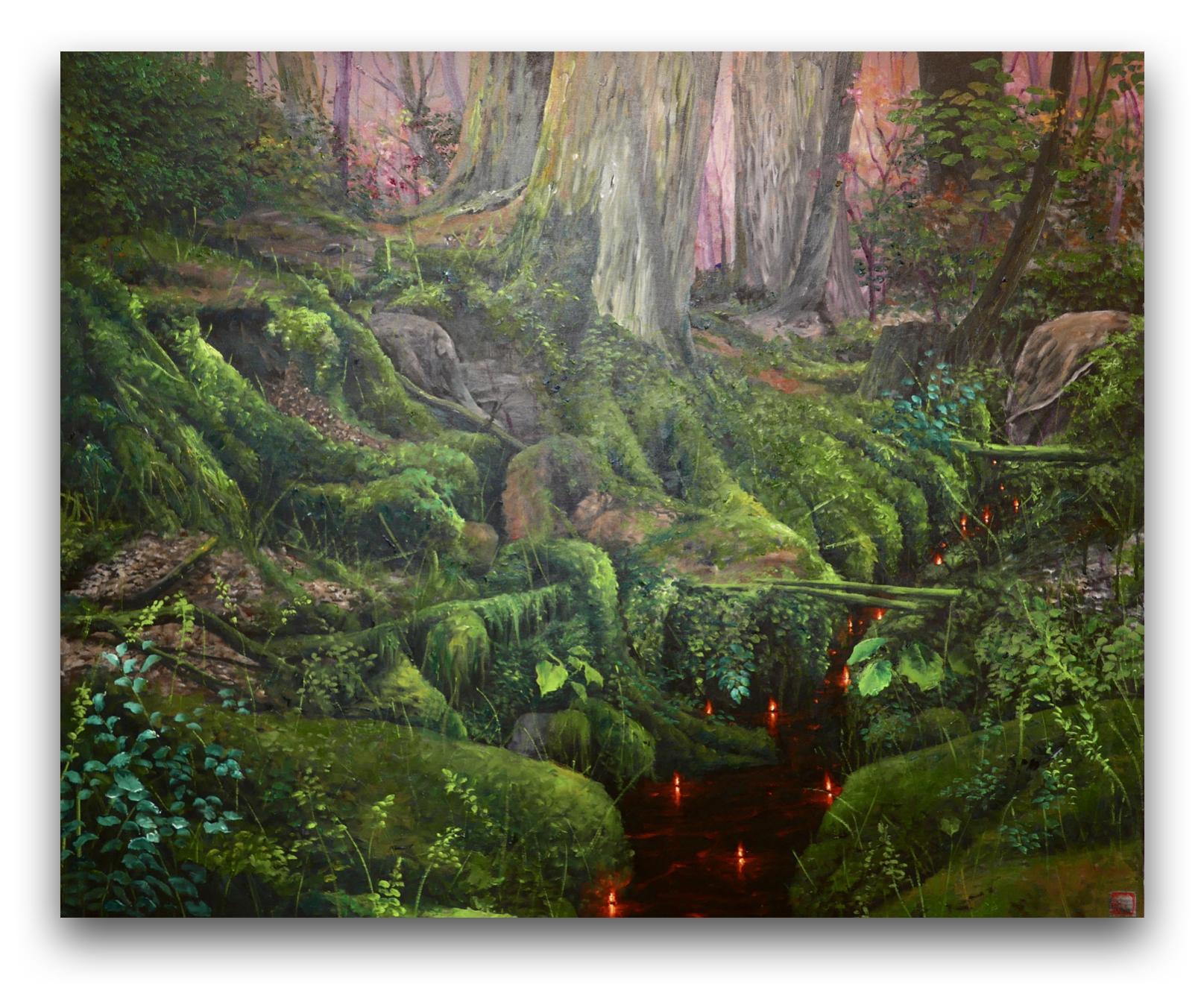 Plamienková krajina (zelená), 80x100 cm, olej na plátne, 2021